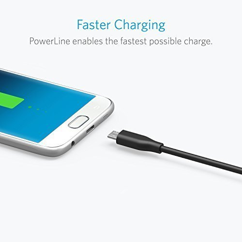 Anker [2-Pack] PowerLine Micro USB (6ft) - Durable Charging Cable, with Aramid Fiber and 5000+ Bend Lifespan for Samsung, Nexus, LG, Motorola, Android Smartphones and More (Black)