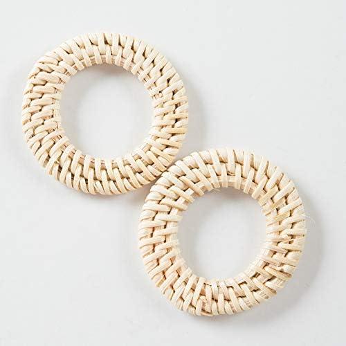ラタンパーツ アイボリー 円形 丸A 45mm 1ペア(2個) チャーム ピアス イヤリング アクセサリーパーツ