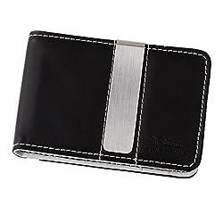 Black/White Leather Bi-Fold Money Clip Wallet for men Cheapest Gift Y&G Money Clip WM1002 One Size Beige