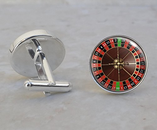 Roulette Wheel Game Gambling Betting Vice .925 Sterling Silver Cufflinks ()