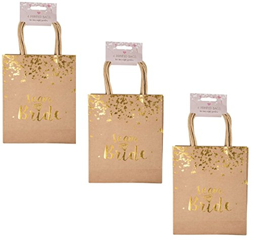 London Empire 12 Pack Bride Squad Goody Bags Hen Party Keepsake Night Favour Gift Ideas Goodie In Gold & Pink (Gold With Gold Writing)