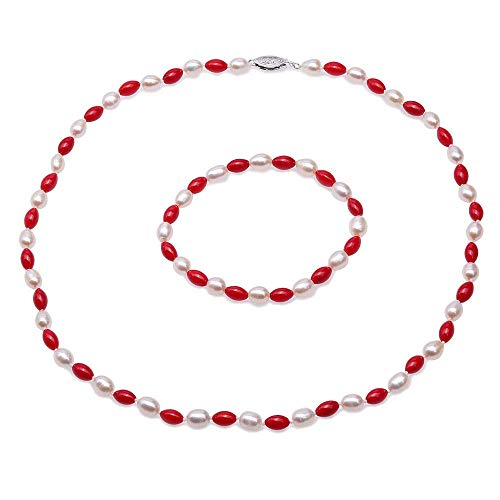 JYX Pearl and Coral Necklace Bracelet Set Handmade Single-Strand Elegant 5.5-6mm Natural Freshwater Cultured Rice-Shaped White Pearl and Red Coral Necklace Bracelet Set for Women 19