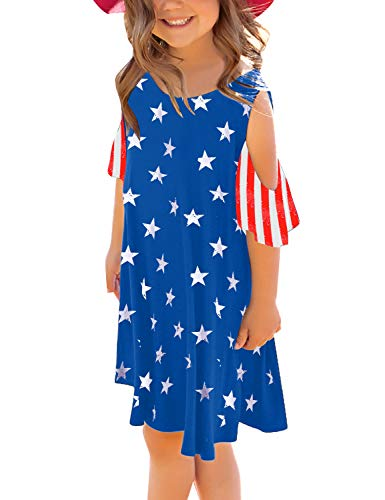 GRAPENT Girls American Flag Unicorn Cold Shoulder Ruffled Short Sleeve Casual Loose Tunic T-Shirt Dress Size XX-Large (12-13 Years) -