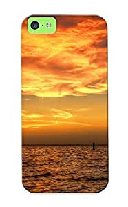 Faddish Phone Sunsetseaship Ocean Sky Clouds Boat Case For Iphone 5c / Perfect Case Cover