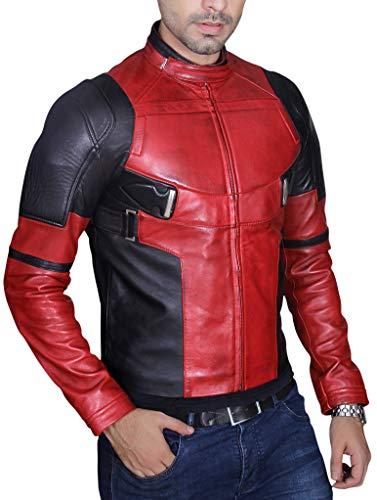 Men's Fashion Deadpool Wade Wilson Ryan Reynolds Real Burgandy Waxed Leather ()