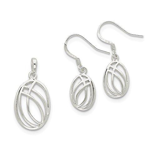 925 Sterling Silver Oval Pendant Charm Necklace Drop Dangle Chandelier Earrings Set Fancy/Fine Jewelry Gifts For Women For - Disc Charm London