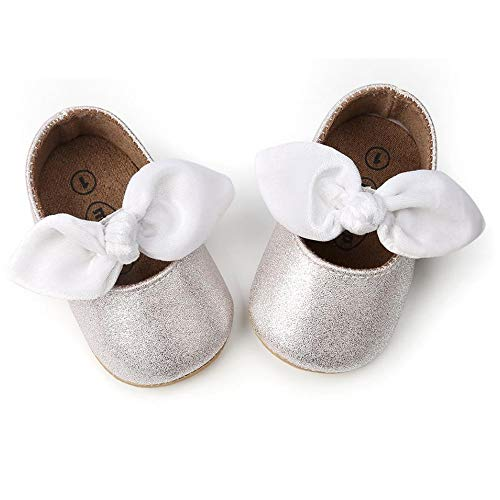 Baby Girls Mary Jane Flats Anti-Slip Rubber Sole Bow Toddler Princess Dress Shoes White