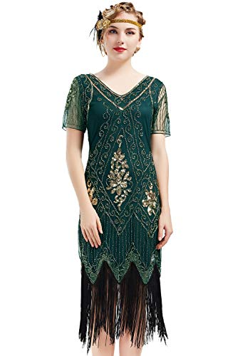 BABEYOND 1920s Art Deco Fringed Sequin Dress 20s Flapper Gatsby Costume Dress (Dark Green, Large)
