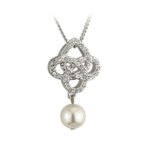 Celtic Knot Necklace Rhodium Plated & Faux Pearl Irish Made ()