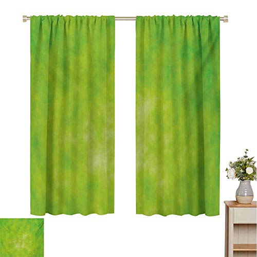 Mozenou Lime Green, Window Curtain Fabric, Cloudy Shade of Color Pastel Toned Hazy Backdrop Irish Tones Artistic Digital, Drapes for Living Room Lime Green