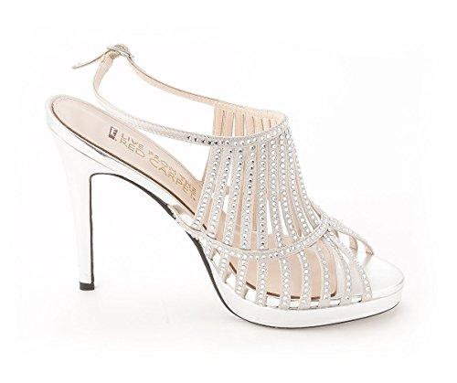 E! Vivi Dal Red Carpet Donna E0046 Peep Toe Special Caviglia Strak. Raso Argentato