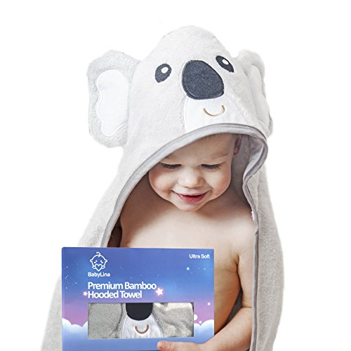 Baby Bamboo Hooded Koala Towel: Soft Hypoallergenic Infant Boy & Girl Towels by BabyLina