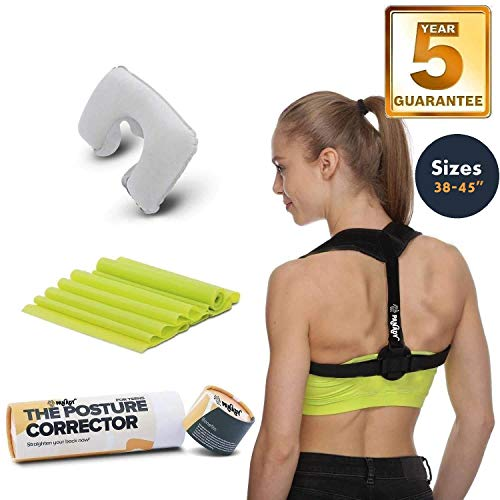 Posture Corrector for Adults, Women, Men, Athletes. Comfortable Back Brace With 5 YEARS WARRANTY, Color Black, Sizes: 35-48