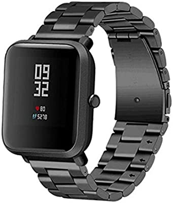 LtrottedJ Stainless Steel Bracelet Watch Band,Strap For Xiaomi Amazfit Bip Youth Watch (Black)