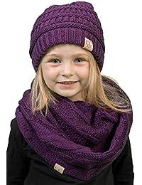 K1-3847-40 Kids Beanie & Scarf Bundle (NO POM): Purple