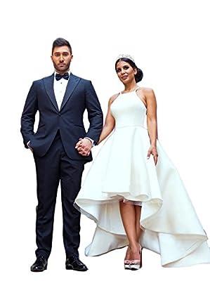 Mathena Women's Spaghetti Straps Scoop Neck High-Low Satin Bride Wedding Dress