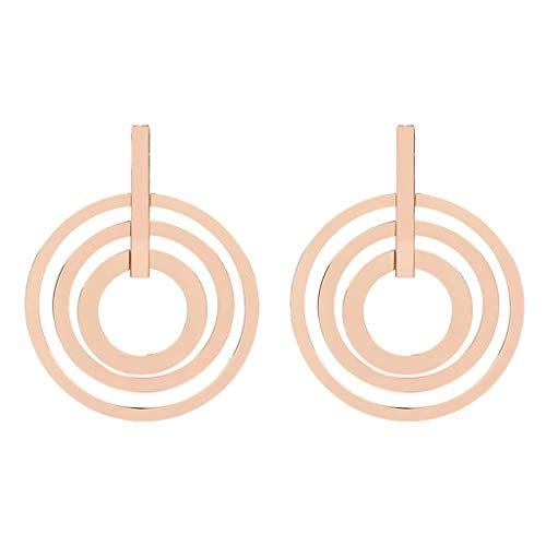 Women Earrings,Big Circle Earring Triple Swirl Round Link Statement Earrings Fashion Jewelry (Rose Gold) (Swirl Triple Earrings)