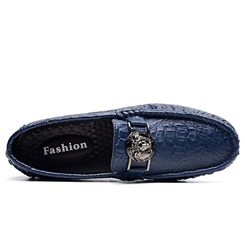 Ocio Hombres Mocasines Shufang de 40 impresión 2018 de de tamaño EU para cocodrilo Zapatos Conductor Patrón Verde Color Azul Zapatos Negocios Hombre Mocasines Loafer shoes Casuales los OpqprT