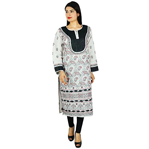 Diseñador de India étnicas Kurti regalo informal para ella Chikan bordado Kurta Blanco
