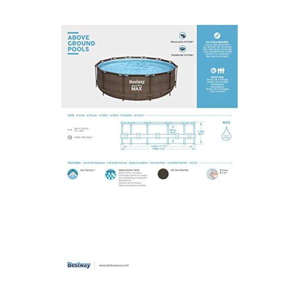 Bestway 56923 | Steel Pro MAX Deluxe Series Piscina Fuori Terra Base, Struttura e Liner, Rotonda, 366x100 cm, Effetto… 4 spesavip
