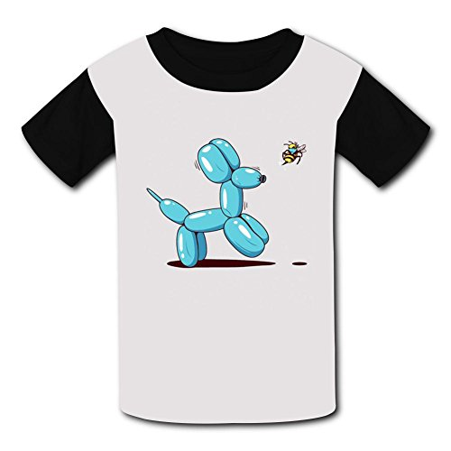Crew Neck 100% Polyester Fiber Cute Short Sleeve Top T-Shirts For Unisex Child,Print The Bees Play Games,S