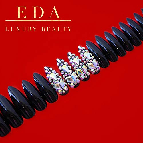EDA LUXURY BEAUTY BLACK 3D GLAMOROUS JEWEL DESIGN Full Cover Press On Gel Glitter Artificial Tips Shiny Acrylic Extreme False Nails Extra Long Pointed Pointy Almond Stiletto Super Fashion Fake Nails