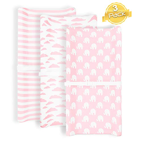 Changing Pad Cover   Pink Elephant