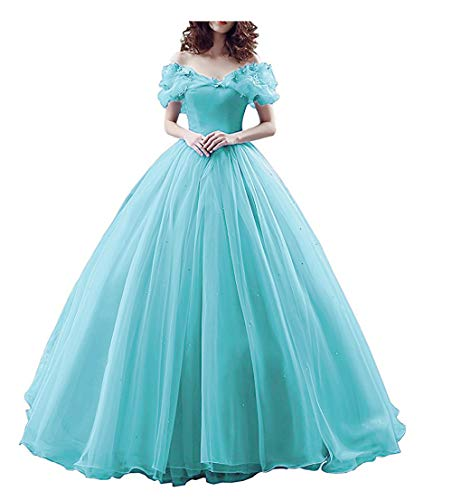 Chupeng Women's Princess Costume Butterfly Off Shoulder Cinderella Prom Gown Wedding Dresses Evening Gown Quinceanera Dress Mint 2 -