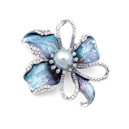Glamorousky Flower Brooch with Silver Austrian Element Crystal and Grey Fashion Pearl (4668)