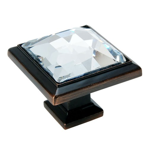 Cosmas 5883ORB-C Oil Rubbed Bronze Cabinet Hardware Square Knob with Clear Glass - 1-1/4