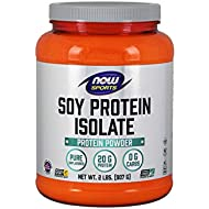 NOW Sports Nutrition, Soy Protein Isolate 20 G, 0 Carbs, Unflavored Powder, 2-Pound