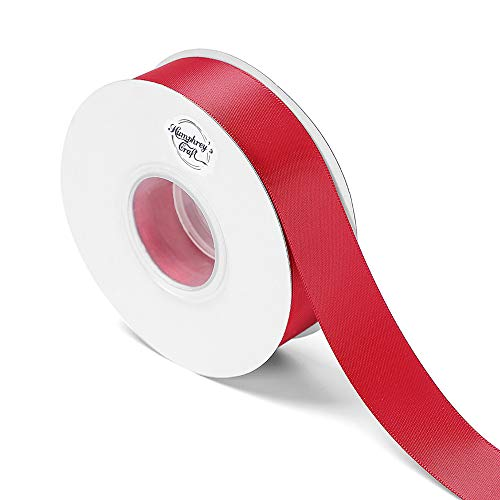 Humphreys Craft 1-inch Wide Double Face Satin Ribbon 100% Polyester Ribbon-25 Yard (Red)