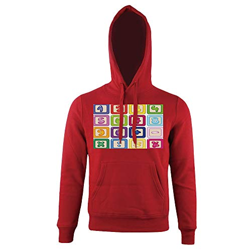 Print Hoodie, Vibrant Colorful Kids Number Blocks Icons Figures,for mens