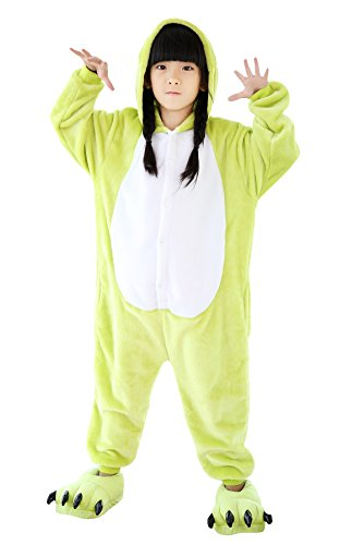 Kid's Unisex Fleece Onesie Pajamas Animal Cosplay Costume Sleepwear 110 Frog