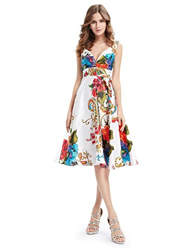 Ever Pretty Womens Double V Neck Floral Printed Satin Short Party Dress 4 US Printed