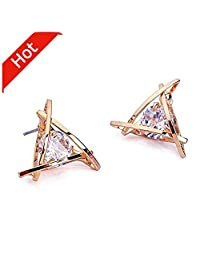 Carfeny Rose Gold Stud Earrings Triangle Shaped CZ Earrings for Women Expertly Made of Sparkling Starlight Round Cut Cubic Zirconia