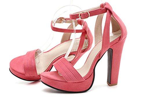 Sandalias Pu De Colores 12cm Del Impermeabiliza Señoras 36 La Pink 38 Xie Puta Alto Hebilla Rocío Verano Los Tabla Thick Talón Compras Pink Y Palabra Las Tres Partido 0d5gwq