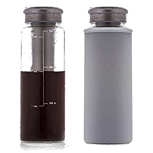 Cold Brew Iced Coffee Maker by Eilde | Airtight Glass Travel Tumbler Carafe with Stainless Steel Removable Filter + Thermal Koozie | 3-cup 24oz 750ml