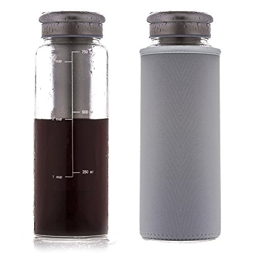 Eilde Cold Brew Coffee Maker, Iced Tea Brewing Carafe, Fruit Infuser Water Bottle, Airtight Seal Glass, 24 Ounce