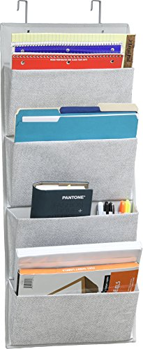 4 Pockets - Wall Mount/Over Door Office Supplies File Document Organizer Holder (Decorative File Holder)