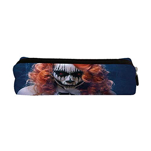Queen Utility Pencil Bag,Queen of Death Scary Body Art Halloween Evil Face Bizarre Make Up Zombie for Work,9.0