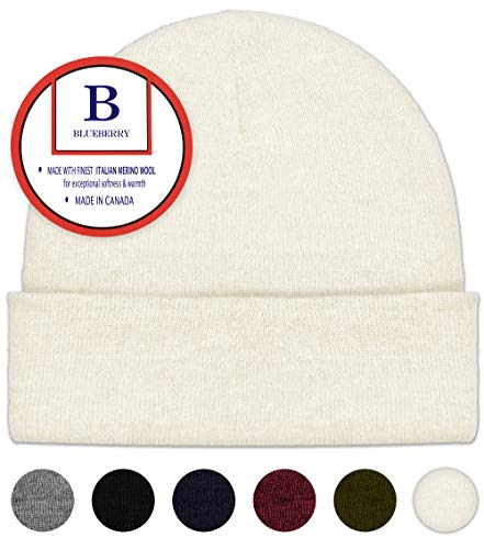 - Ivory Merino Wool Beanie Hat -Soft Winter and Activewear Watch Cap