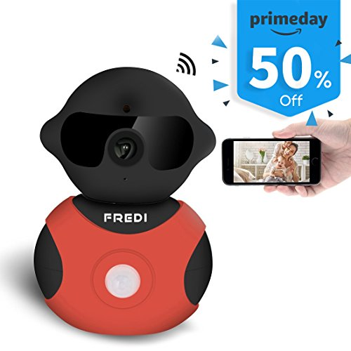 FREDI Cartoon Indoor WiFi IP Camera 720P HD Wireless Home Security Camera with Pan/Tilt Night Vision for Smart Phone (Black) Image