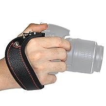 LYNCA VDS6 Genuine Leather Camera Wrist Strap for Nikon Canon SLR Micro Single Camera Wrist Strap-Red