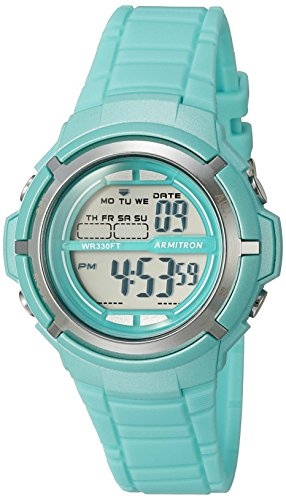 Armitron Sport Women's 45/7045TLGD Silver-Tone Accented Digital Teal Resin Strap (Digital Resin Strap Watch)