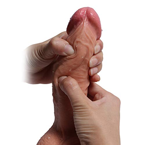 Hyper Realistic Dildo, Anfei Slightly Bendable 9 Inch G-Spot Premium liquid Silicone Penis Dong with Suction Cup, Sex Toy for Female Masturbation