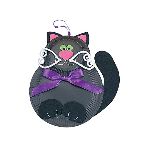 Fun Express - Black Cat Paper Plate Craft Kit for Halloween - Craft Kits - Hanging Decor Craft Kits - Paper Plate Craft Kits - Halloween - 12 Pieces