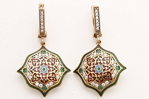 Motif Style Turkish Handmade All Authentic Jewelry Red Enamel Round Cut Emerald Topaz 925 Sterling Silver Dangle/Drop Earrings