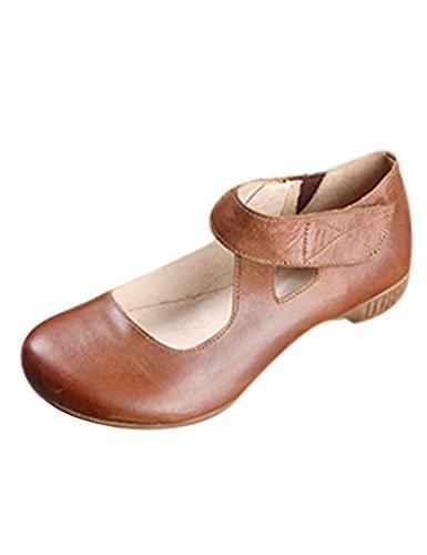 Youlee Mujer Suela de caucho de primavera Los zapatos de cuero Caqui