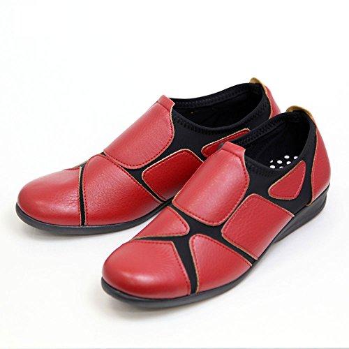 レディース ウォーキングシューズ 履きやすい 外反母趾 靴 ストレッチシューズ スムースSC1801 レッド